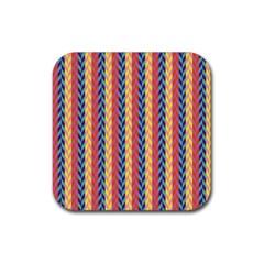 Colorful Chevron Retro Pattern Rubber Coaster (Square)