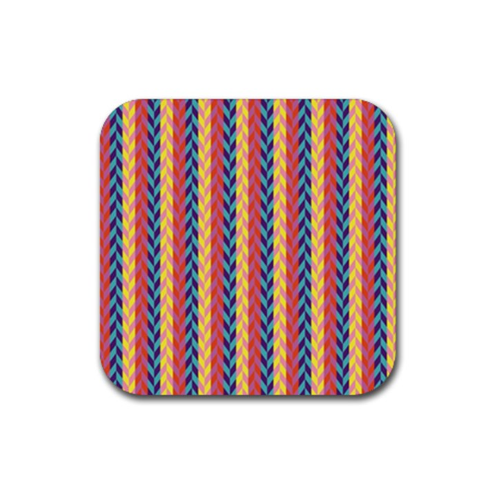 Colorful Chevron Retro Pattern Rubber Square Coaster (4 pack)