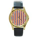 Colorful Chevron Retro Pattern Round Gold Metal Watch Front