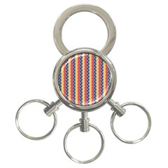 Colorful Chevron Retro Pattern 3 Ring Key Chains by DanaeStudio