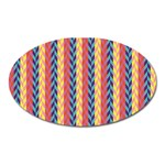 Colorful Chevron Retro Pattern Oval Magnet
