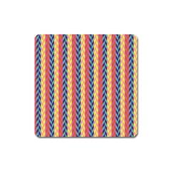 Colorful Chevron Retro Pattern Square Magnet