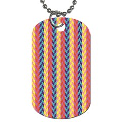 Colorful Chevron Retro Pattern Dog Tag (one Side) by DanaeStudio
