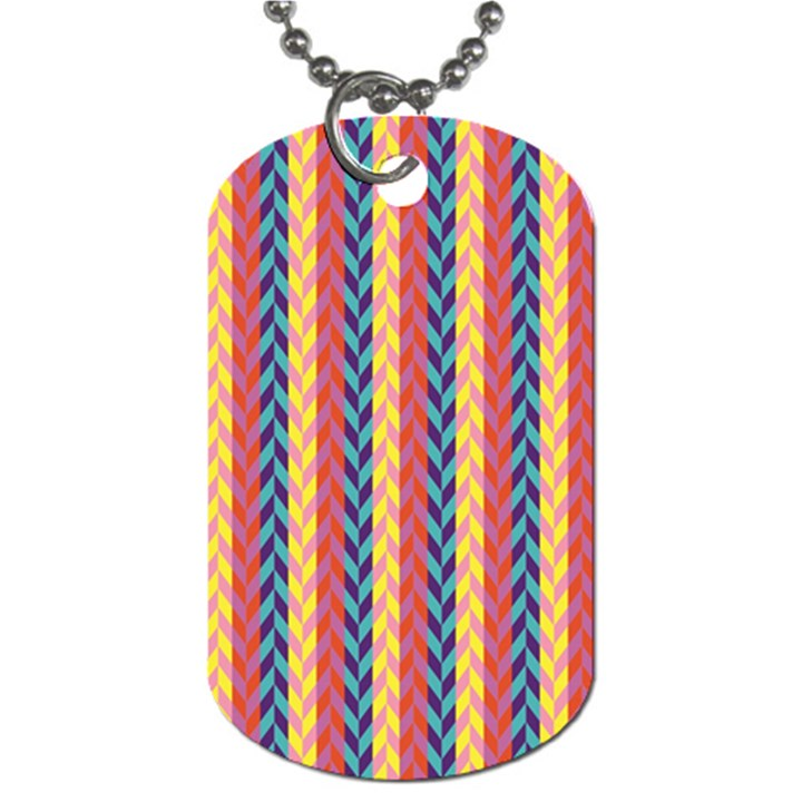Colorful Chevron Retro Pattern Dog Tag (One Side)