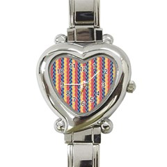 Colorful Chevron Retro Pattern Heart Italian Charm Watch by DanaeStudio