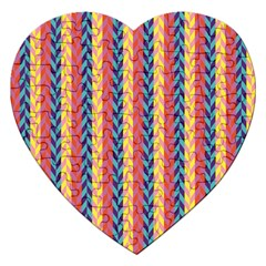 Colorful Chevron Retro Pattern Jigsaw Puzzle (heart) by DanaeStudio