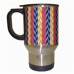 Colorful Chevron Retro Pattern Travel Mugs (White) Left