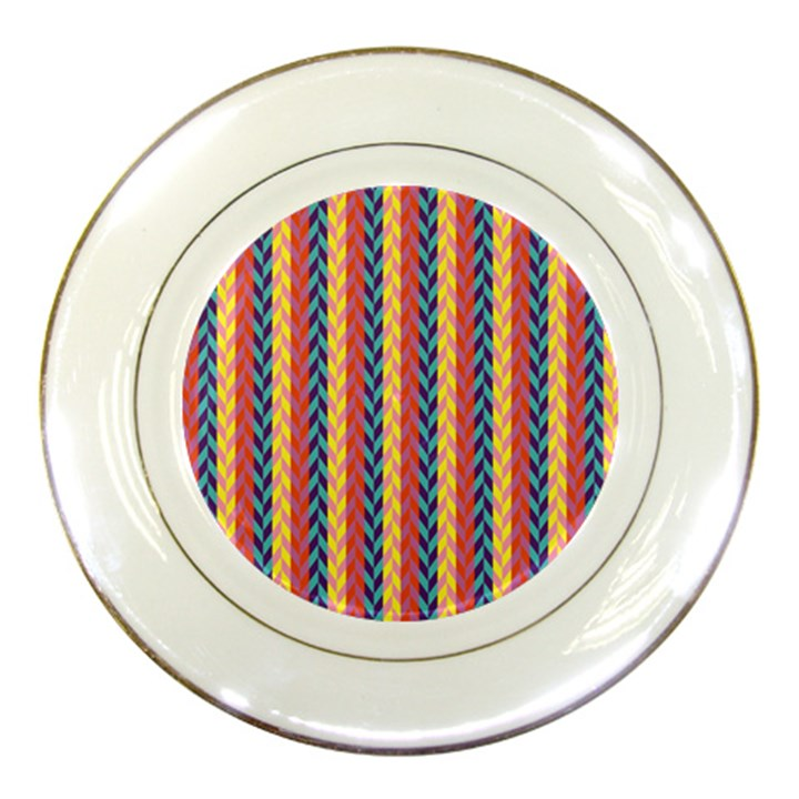 Colorful Chevron Retro Pattern Porcelain Plates