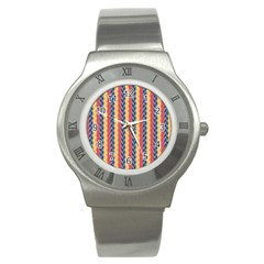 Colorful Chevron Retro Pattern Stainless Steel Watch by DanaeStudio
