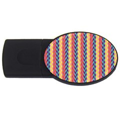 Colorful Chevron Retro Pattern Usb Flash Drive Oval (4 Gb)