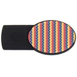 Colorful Chevron Retro Pattern USB Flash Drive Oval (4 GB)  Front