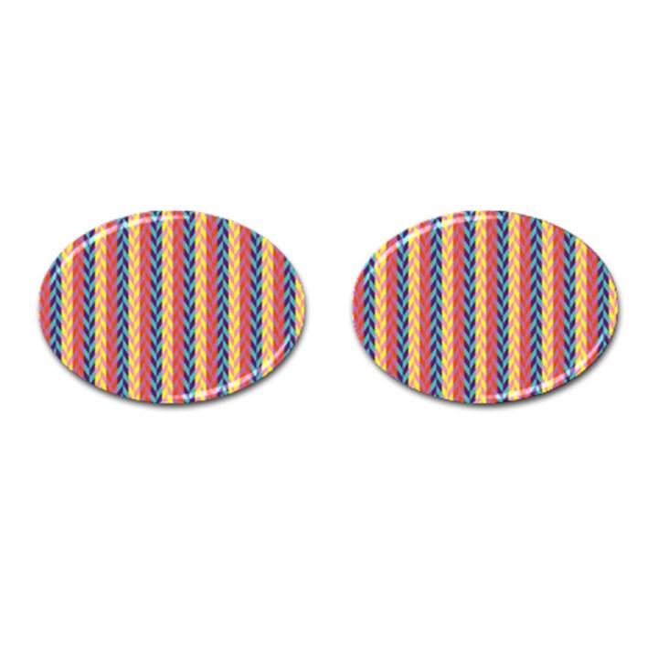 Colorful Chevron Retro Pattern Cufflinks (Oval)