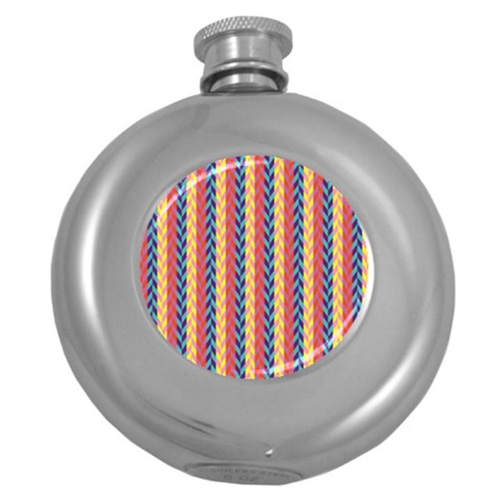 Colorful Chevron Retro Pattern Round Hip Flask (5 oz)