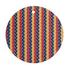 Colorful Chevron Retro Pattern Round Ornament (Two Sides)