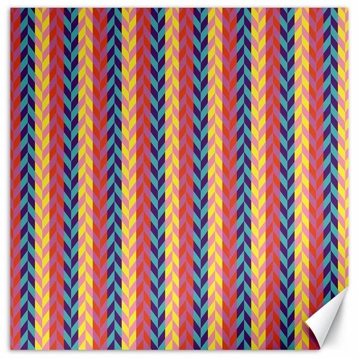 Colorful Chevron Retro Pattern Canvas 12  x 12