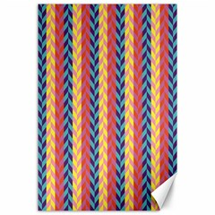Colorful Chevron Retro Pattern Canvas 24  X 36  by DanaeStudio