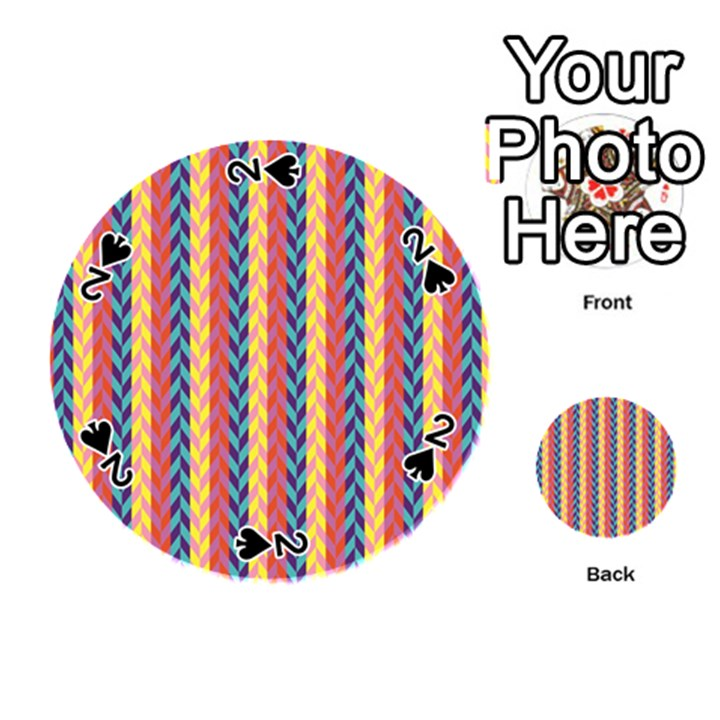 Colorful Chevron Retro Pattern Playing Cards 54 (Round)