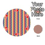 Colorful Chevron Retro Pattern Playing Cards 54 (Round)  Front - HeartA