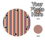 Colorful Chevron Retro Pattern Playing Cards 54 (Round)  Front - Club8