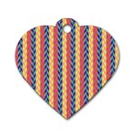 Colorful Chevron Retro Pattern Dog Tag Heart (One Side)