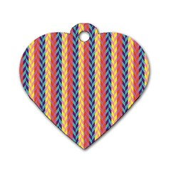 Colorful Chevron Retro Pattern Dog Tag Heart (two Sides)