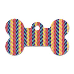 Colorful Chevron Retro Pattern Dog Tag Bone (one Side) by DanaeStudio