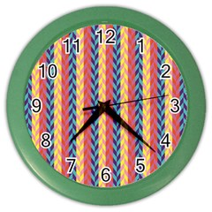 Colorful Chevron Retro Pattern Color Wall Clocks by DanaeStudio