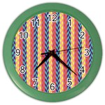 Colorful Chevron Retro Pattern Color Wall Clocks Front