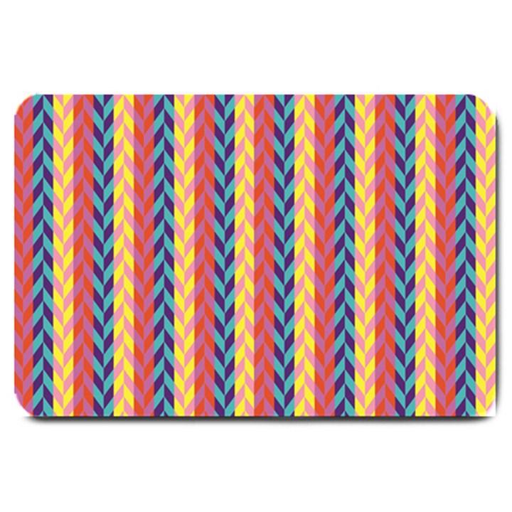Colorful Chevron Retro Pattern Large Doormat