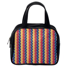 Colorful Chevron Retro Pattern Classic Handbags (one Side) by DanaeStudio