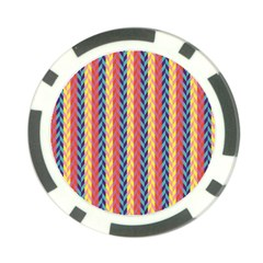 Colorful Chevron Retro Pattern Poker Chip Card Guards (10 Pack)  by DanaeStudio