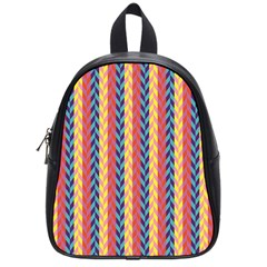 Colorful Chevron Retro Pattern School Bags (small)  by DanaeStudio