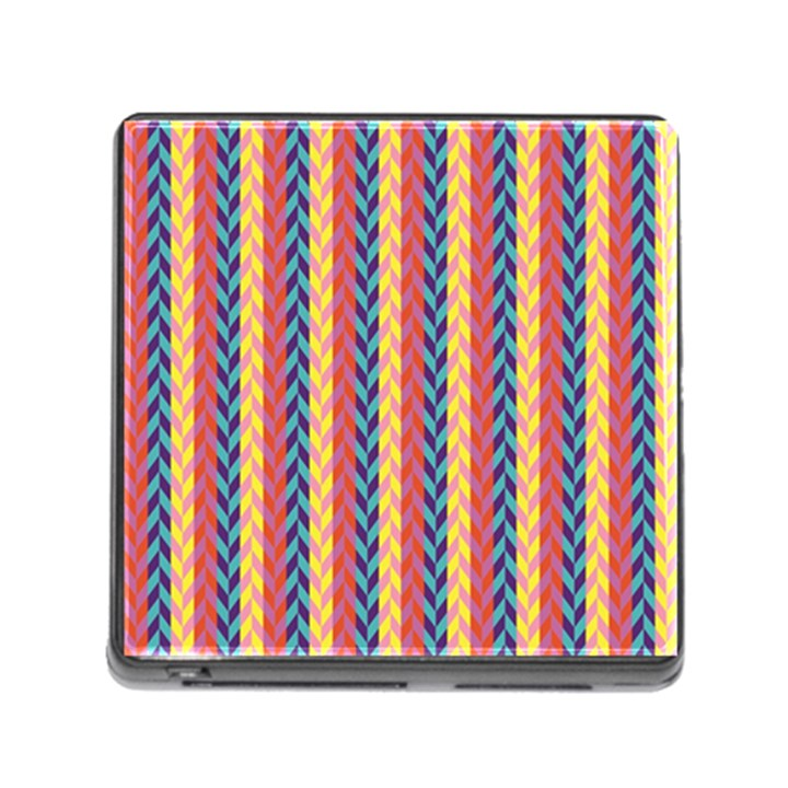 Colorful Chevron Retro Pattern Memory Card Reader (Square)
