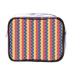 Colorful Chevron Retro Pattern Mini Toiletries Bags by DanaeStudio