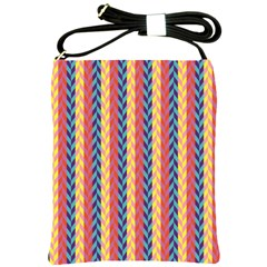 Colorful Chevron Retro Pattern Shoulder Sling Bags by DanaeStudio