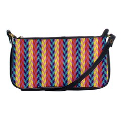 Colorful Chevron Retro Pattern Shoulder Clutch Bags by DanaeStudio