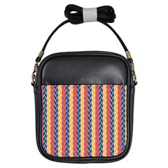 Colorful Chevron Retro Pattern Girls Sling Bags by DanaeStudio