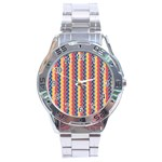 Colorful Chevron Retro Pattern Stainless Steel Analogue Watch
