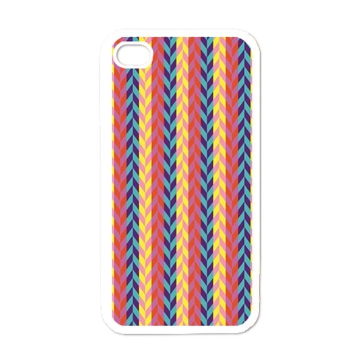 Colorful Chevron Retro Pattern Apple iPhone 4 Case (White)