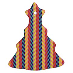 Colorful Chevron Retro Pattern Ornament (christmas Tree)