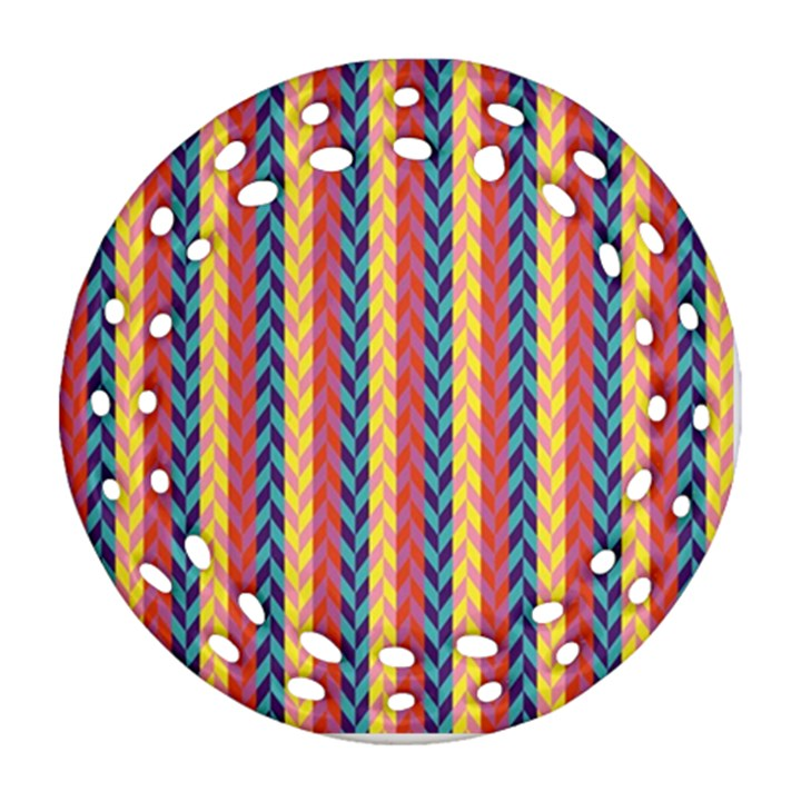 Colorful Chevron Retro Pattern Round Filigree Ornament (2Side)