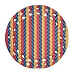 Colorful Chevron Retro Pattern Round Filigree Ornament (2Side) Back