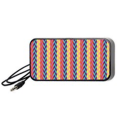 Colorful Chevron Retro Pattern Portable Speaker (black)  by DanaeStudio