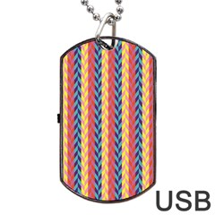Colorful Chevron Retro Pattern Dog Tag Usb Flash (one Side) by DanaeStudio