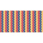 Colorful Chevron Retro Pattern Twin Heart Bottom 3D Greeting Card (8x4) Front