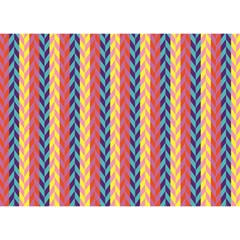 Colorful Chevron Retro Pattern Birthday Cake 3d Greeting Card (7x5)