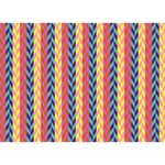 Colorful Chevron Retro Pattern Birthday Cake 3D Greeting Card (7x5) Back