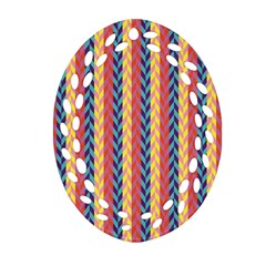 Colorful Chevron Retro Pattern Oval Filigree Ornament (2 Side)