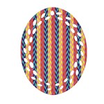 Colorful Chevron Retro Pattern Oval Filigree Ornament (2-Side)  Front