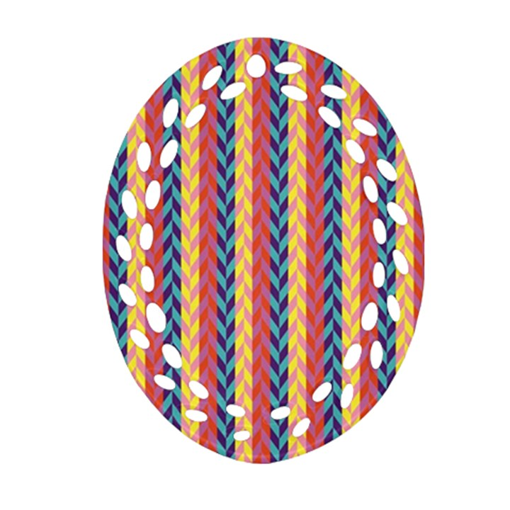 Colorful Chevron Retro Pattern Oval Filigree Ornament (2-Side)